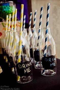 paper straws. <3 tweak it to have a cork for Alice in Wonderland theme?