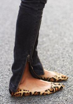 Leopard Flats With Bottom Zipper Jeans