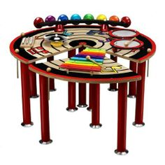 Music Table interactive group play wooden Xylophone, 2 Remo drums, 8 note Xylobells, a 3-tone chime and a cymbal by wooden products. $299.99. Basic music skills are tied together and taught through the Musical Slices of Fun Table. With four separate sections, the table is designed in encourage interactive group play. It boasts a wooden Xylophone, 2 Remo drums, 8 note Xylobells, a 3-tone chime and a cymbal! They will have a band started in no time as they play along with the var...