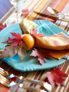 2013 Easy Fall Decorating Projects Ideas from BHG Fall Table Settings, Place Settings, Autumn Table, Diy Thanksgiving, Deco Table, Autumn Inspiration, Happy Fall, Fall Halloween, Table Decorations