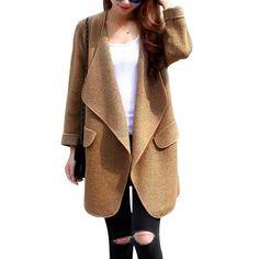 New Hot Women Long Cardigan Knitting Turn-down Collar Solid Sweater Fashion Coat Autumn Female Winter Warm Outwear Grey Khaki