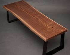 YOUR CUSTOM Live Edge Black Walnut BENCH - Natural - Rustic - Modern