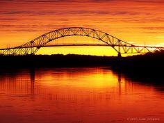 Sagamore Bridge at Sunrise. Cape Cod Canal by elizthomasphoto, via Flickr