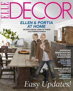 Elle Decor featured the sprawling horse ranch that comedian and talk-show host Ellen DeGeneres shares with wife Portia de Rossi in Santa Monica. Portia De Rossi, Elle Decor Magazine, Interior Design Magazine, Best Interior Design, Magazine Covers, Ellen Degeneress, The Ellen Show, Ellen Degeneres And Portia, Ellen And Portia