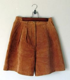 80s Camel Suede Leather Shorts