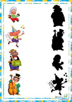 educational game find a shadow, the shadow of the heroes whose domestic cartoons Gross Motor Activities, Montessori Activities, Preschool Kindergarten, Preschool Worksheets, Hidden Pictures, Early Education, Educational Games, Matching Games, Games For Kids