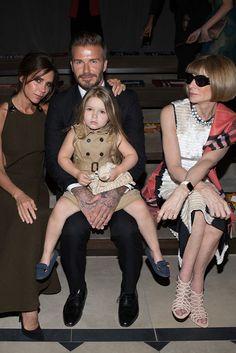 Victoria, David and Harper Beckham with AnnaWintour. [Photo by Katie Jones]