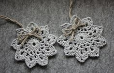 Crochet Christmas tree ornaments   crochet snowflakes by CreamKnit