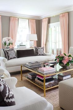 Anne Hepfer Designs: Stunning pink and brown living room with taupe walls paint color paired with floor to ... Wall Colors, Coffee Tables, Living Rooms, Color Schemes, Room Colors, Pink And Gray Living Room, Gray Walls, Live Room, Curtain