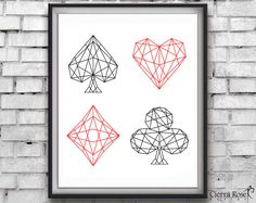 Geometric Print with Playing Card Suits. Modern Artwork of diamond, spade, heart…