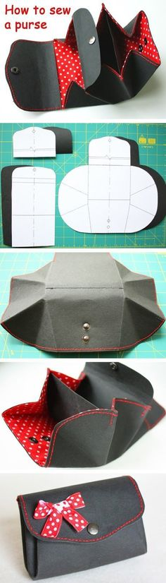 Coin purse made from Kraft-Tex paper. DIY tutorial in pictures.  www.handmadiya.co...