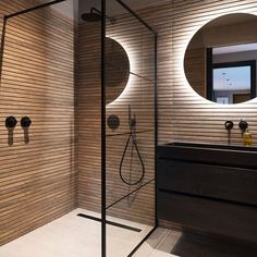 What a gorgeous bathroom design by Tag a friend . Bathroom Design Luxury, Modern Bathroom Design, Japanese Bathroom, Bathroom Design Inspiration, Shower Remodel, Small Bathroom, Wooden Tile Bathroom, Wood Tile Shower, House Design