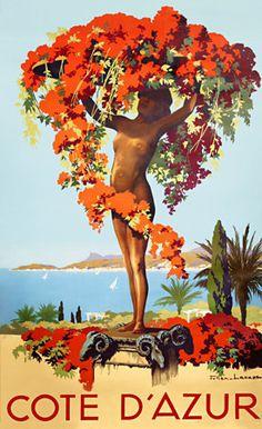 Vintage Travel Poster - Côte d'Azur.