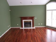 [Real Homes] Green living room: Benjamin Moore's 'Great Barrington Green' by SarahKaron, via Flickr