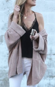 slouchy pink free people cardigan over black lace ASTR cami