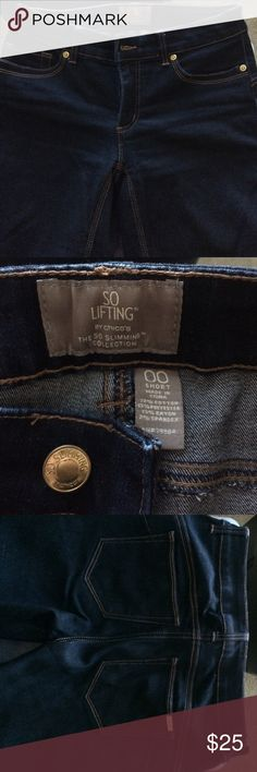 Chico's So Lifting dark blue jeans short 00 Worn a few times but little sign of wear. Not faded. Inseam is about 28. Size is about equal to size 6. Chico's Jeans Straight Leg