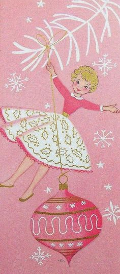 Not your traditional red and green here; these vintage Christmas illustrations embrace the color pink! Rosy hues give a confe. Old Time Christmas, Old Fashioned Christmas, Christmas Love, Retro Christmas, Christmas Greetings, Christmas Crafts, Cottage Christmas, Christmas Glitter, Christmas Wedding