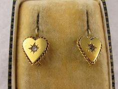 Antique Victorian 9K & Diamond Sweetheart Dormeuse Earrings from blackwicks on Ruby Lane