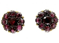 """Dorrie Nossiter Garnet Earrings 2cm x 2cm 0.8"""" x ⅘in Unmarked. Sold by the Antique Jewellery Company. Image 1 of 4."""