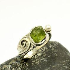 Raw peridot ring sterling silver rough peridot green gemstone