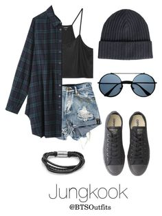 """""""Warped Tour with Jungkook"""" by btsoutfits ❤ liked on Polyvore featuring Monki, Converse, SteelTime and Amanda Christensen"""