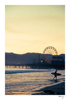 Santa Monica Pier Surf Photo - California Beaches - Ocean Photograph - Sunset - Fine Art Print - Travel Photograpy - Santa Monica Surfer