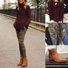 budgetbabe | Totally feeling this #pinterest look for fall camo, paired with merlot and cognac (sounds like a fashion cocktail!) // @searsstyle pants, @forever21 sweater, @kohls ankle boots . All in stores now under $40. #outfit #outfitidea #fall2015 #falloutfit #fallfashion #pinspiration #camo #oxblood #ankleboots