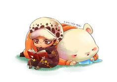 Reading book - Chibi Trafalgar D. Water Law and Bepo One piece