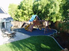 Rubber Bark by Rubber Ground Cover- Rubber Mulch-Shredded Rubber-Playground-Play Areas-Landscaping Backyard Slide, Backyard For Kids, Backyard Landscaping, Backyard Ideas, Landscaping Ideas, Backyard Playset, Kids Indoor Playground, Kids Outdoor Play, Playground Ideas