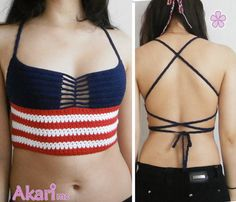 This 4th of July crop top crochet Pattern is inspired in the American flag. Is easy to make, and IF YOU WANT IT LARGER YOU CAN DO IT EASILY just
