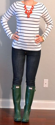 White striped shirt, blue jeans and magenta flats ( I WISH ) green Hunter boots! 2.13.2014
