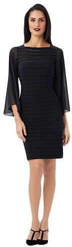 ADRIANNA PAPELL Bell Sleeve Tiered Sheath Dress