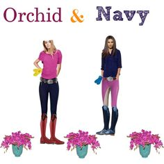 Orchid & Navy by stylemyride on Polyvore featuring polyvore fashion style A.N.A Ariat Hermès