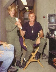 Amanda and Rick goofing off behind the scenes