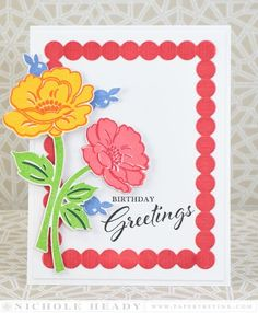 Vintage Birthday Greetings Card by Nichole Heady for Papertrey Ink (July 2015)