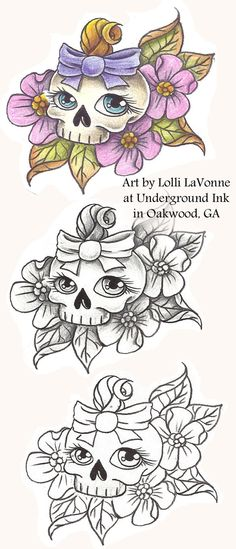Girly skull with bow 01 by ~lavonne on deviantART
