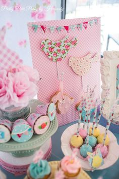 Cath Kidston bunny birthday party cake pops! See more party ideas at CatchMyParty.com!