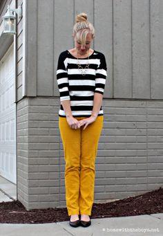 Mustard Pants + Stripes