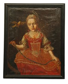 Antique 18th Century Painting of a Little Girl & Canary Circa 1780