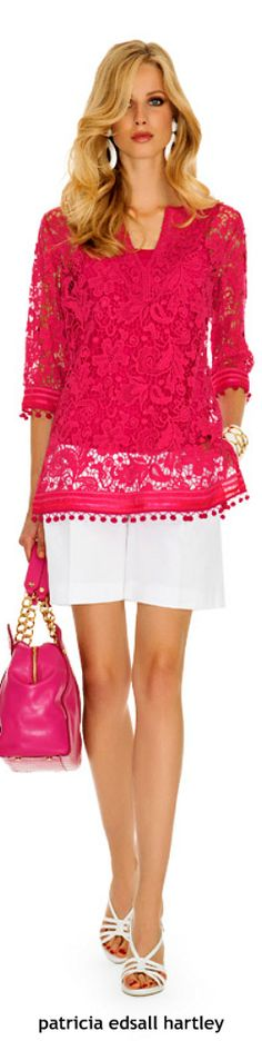 Luisa Spagnoli pink lace blouse women fashion outfit clothing style apparel @roressclothes closet ideas