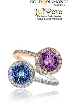This Intriguing One of a Kind Juleve Ring Features 3.65 Carats Total Weight Round Brilliant Purple & Blue Sapphires. That are accented with 0.63 Carat Total Weight Round Brilliant Diamonds. The Eye-Catching Sapphires and Diamonds are set in 18 Karat White & Rose Gold. This Juleve Ring was Proudly Designed & Manufactured in the U.S.A.