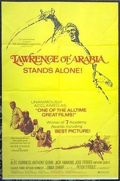 """BRING BACK THE 70'S!!"" - Just added some GREAT movie posters from the '70's. Mostly all 1-sheets that measure approx. 27x41. LAWRENCE OF ARABIA -R71 original 27x41 MOVIE POSTER - PETER O'TOOLE, OMAR SHARIF"