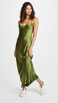 green dress | SHOPBOP Plus Dresses, Satin Dresses, Silk Dress, Summer Dresses, Victoria Beckham Short Hair, Silk Slip, Festival Outfits, Green Dress, Night Gown