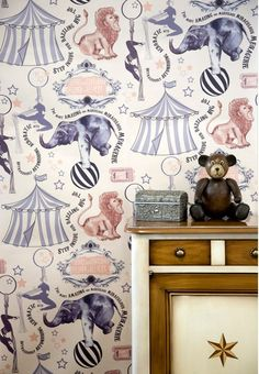 Roll-up, Roll-up Wallpaper This fantastical design features acrobats, big tops permorming beasts and fancy flourishes in a hark-back to the Victorian Circus era. Each roll is digitally printed to order on a high quality, pearly finish paste the wall non-woven wallpaper, making hanging much easier as this eliminates the need [...]