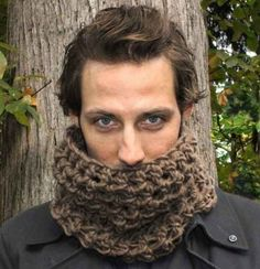 Mens Cowl neck scarf warmer scarflette charcoal by HookedWear Crochet Scarves, Knit Crochet, Crochet Hats, Crochet Winter, Loom Knit, Chrochet, Crochet Clothes, Crochet Stitches, Cowl Scarf