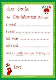 santa letter template free printable | Free Dear Santa Printable - Santa Letter | Christmas Curriculum