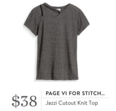 Eve F. comment 1/5/17:  I watched an unboxing video with this top and was kind of blown away by how comfy, stylish, and edgy this tee looked.  Again, edgy is not my usual thing, but I'm really feelin' this one.  Maybe the desire to try new things is the rose-colored benefit of heartbreak.  Stitch Fix Review Page VI Tee
