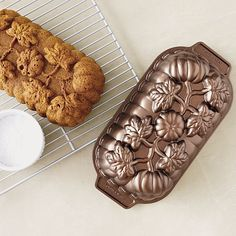Nordic Ware Pumpkin Patch Loaf Pan from Crate and Barrel. Cake Baking Pans, Cake Pans, Bundt Pans, Nordic Ware Bundt Pan, Pumpkin Loaf, Homemade Pastries, Types Of Bread, Loaf Pan, Non Stick Pan