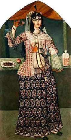 Clothes made from termeh. Qajar Dynasty era painting