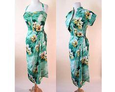 Aloha Fabulous Vintage 1950's Rayon Crepe Sarong Dress